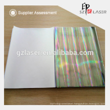 157g silver coated hologram paper for laminate with notebook