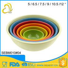 ODM y OEM cutom logo conjunto de tazón de fuente redondo de mezcla de melamina de bambú
