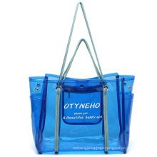 Waterproof Tote Stripe PVC Beach Shoulder Bag PVC Large Work Tote Purse Clear Handbags
