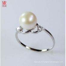 Bague en perles d'eau douce en argent sterling 925 en forme de coeur (ER1606)