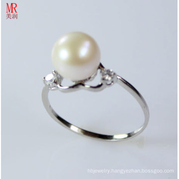 Heart Shape 925 Silver Sterling Silver Freshwater Pearl Ring (ER1606)