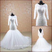 TT0505 neues Design 2014 langes Hülsen moslemisches Brauthochzeitskleid