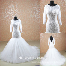 TT0505 new design 2014 long sleeves muslim bridal wedding dress