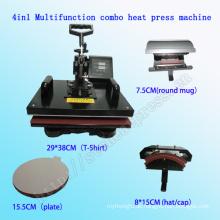 4 in 1 Multifunktionskombo T-Shirt Druck-Hitze-Presse-Maschine CER genehmigte kombinierte Multifunktions-Wärmeübertragung Maschine Stc-SD08