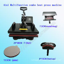 4 en 1 camiseta combinada multifuncional de la máquina de la prensa del calor de la impresión Máquina multifuncional aprobada de la transferencia de calor de CE Stc-SD08