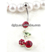 Hermosa cereza cuelga los anillos de botón del vientre piercing joyas