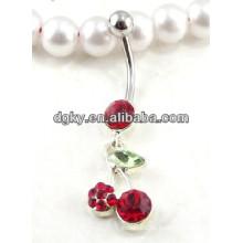 Bonito, cereja, pendurar, barriga, botão, anéis, piercing, jewelled