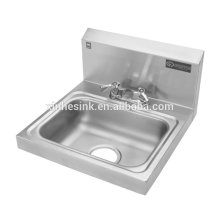 Fregadero de lavado de manos de acero inoxidable con orificios para grifos, fregadero de lavado de manos comercial NSF montado en Splash para servicio de catering
