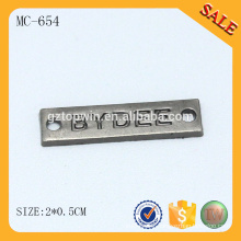 MC654 Luxury cloth accessory logo metal blank name tags