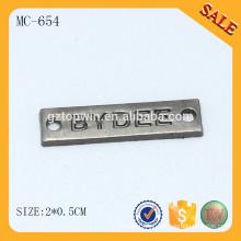 MC654 Etiquetas de nome em branco do metal do logotipo do acessório luxuoso do pano