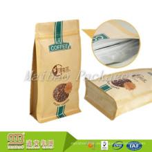 Diseño personalizado Flat Bottom Heal Seal 200g Papel Kraft Aluminium forrado Bolsa de envasado de café
