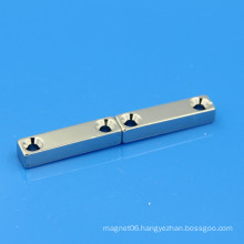 NdFeB neodymium block magnet double screw hole
