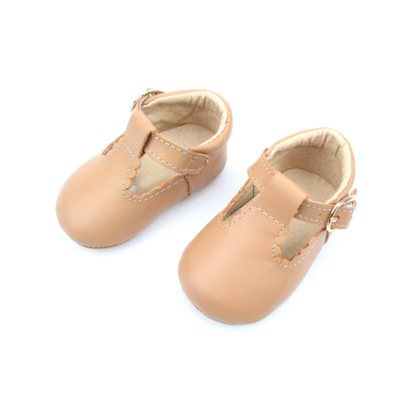 Quanlity Genuine Leather Baby Girl T-Bar Casual Shoes