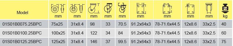 Parameters of 01S01B0075.25BPC