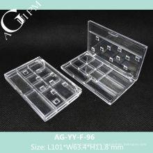 Transparente Rectangular Multi Red-Eye Shadow caso AG-YY-F-96, empaquetado cosmético de AGPM, colores/insignia de encargo