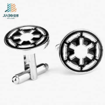 Hot Sell Soft Enamel Black Color Custom Round Cufflink for Wholesale