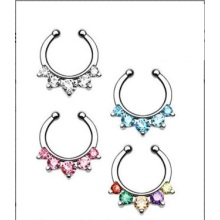 Fünf Edelsteine ​​Septum Nase Clip-On Hanger Ring