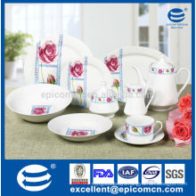 blooming rose decor 47pcs household porcelain round dinner service set with tea set