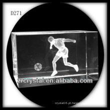 K9 3D subsuperfície de laser de futebol dentro do bloco de cristal