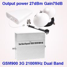 2g 3G Handy-Signal Booster für GSM900 3G 2100 Ausgangsleistung 27dBm Gain 75dB
