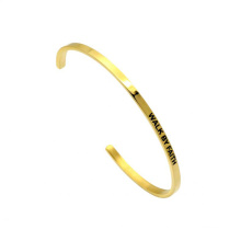 Gold Name Stamp Inspiration Bland Stainless Steel Cuff Bangle Bracelet