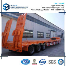 50t 3 Axles Low Flat Bed Plate Semi Trailer with Hydraulic Ladder