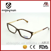 2015 double color designer optical frames acetate hand made spectacles eyeglasss with golden metal temple
