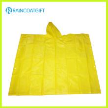 Продвижение желтый ПВХ дождь пончо для взрослых