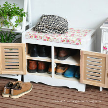 Gabinete de almacenaje de zapatos otomanos de madera para cambio de zapatos, reposapiés para gabinete de sala de estar