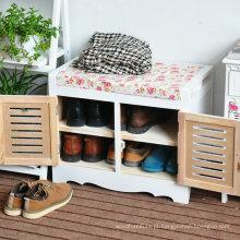 Armário de armazenamento de madeira da sapata das otomanas para a mudança da sapata, footstool do armário da sala de visitas