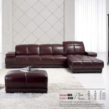 Leather Upholstered Chaise Sectional Reclining Sofa