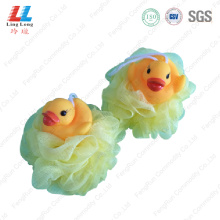 Yellow duck animal bath sponge ball