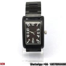 Top-Qualität Ebony-Wooden Watch Rechteck Quarz Uhren Hl15