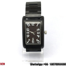Top-Quality Ebony-Wooden Watch Rectangle Quartz Watches Hl15