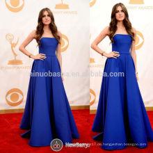 Die 65. Emmy Awards Allison Williams Red Carpet Celebrity Kleid Einfache Blue Strapless Lange A-Line Satin Abendkleid NB0798