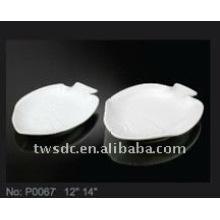 Placas/platos de pescado de cerámica blanca para estrellas y restaurante (P0067)