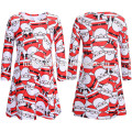 Fashion Long Sleeve Red Mother Daughter Christmas Party Wear Clothing Set Santa Claus Printed Women Children Christmas Dress
