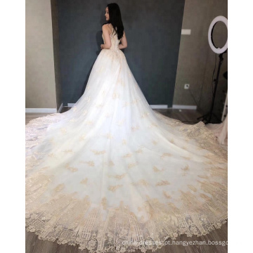 Vestido de casamento de luxo ouro vestido de noiva 2018