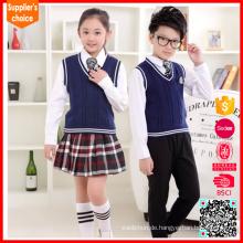 Neue Mode V-Ausschnitt Pullover Grundschule Uniform Design