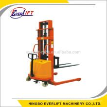 1000 kg 1600mm semi empilhador elétrico straddle empilhador de mão elétrica perna larga manual alimentado levantador