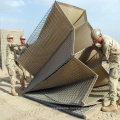Folding defensive barrier filled with sand blast barrier wall for protection