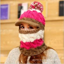 Benutzerdefinierte Hand stricken winddicht schälte Hut mit Kapuze Winter Cap Neckwarmer