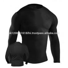 plain black skin tight training compression UV protection wear rash guard