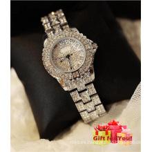 Cristal lleno de cristal de espuma de lujo con tachonado reloj de pulsera de señora reloj especial de Cestbella