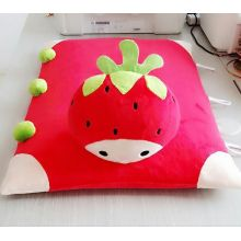 A square red rural strawberry flat pillow mat