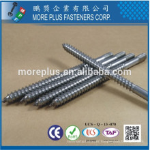 """Made in Taiwan Stainless Steel 304 3"""" Lag Wood Thread and Machine Screw Thread Metric Hanger Bolt"""