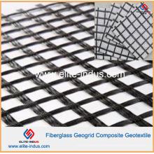 Asphalte renforcé Composé de géogrille et de drainage géotextile en fibre de verre