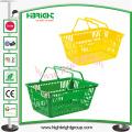 Cesto de compras plástico do punho dobro para o supermercado