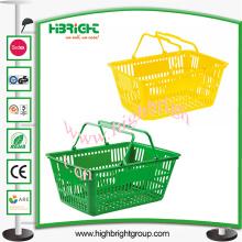 Doppelter Handgriff-Plastikeinkaufskorb für Supermarkt