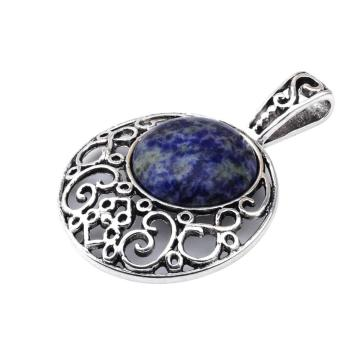 Sodalite 20MM Cabochon Alloy Gemstone Pendant